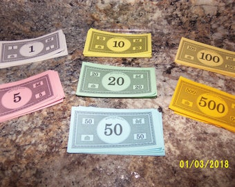Vintage Monopoly Money, Monopoly Game Pieces, Play Money, Board Game Pieces, 1996 Monopoly Money, Scrapbook Supply