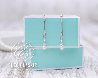 Pearl Bridal Earrings | Pearl Wedding Earrings | Dangle Pearl Earrings | Pearl Wedding Jewelry | Vintage Earrings | Bridesmaid Earrings