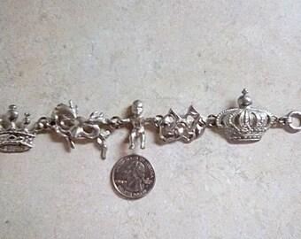 Vintage Maurice Milleur Pewter Charm Bracelet Baby Crowns Masks 1993