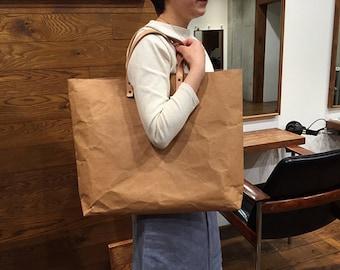 Tote Bag Grand : Tyvek and Kraft paper brown tote bag/market bag/shoulder bag/shopper bag/top handle bags/washable and eco friendly