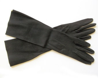 Vintage French KID Leather Brown Opera Gloves - Evening Gloves - Made in Madrid Spain / 13 inches