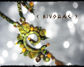 SOLD - Long necklace green dominant fabric BIVOUAC / Khaki, ochre yellow Leather / Brown and beads of wood, seeds