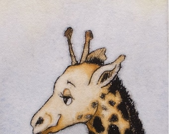 Kids wall art Cute animal Giraffe drypoint print with watercolor