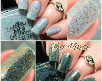 New! Michelangelo & Da Vinci Duo ~ Multichromatic Amber Gold Bronze Silver Flakie Turquoise Teal 5 free Indie Nail Polish by MDJ Creations