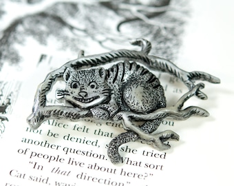 Silver Cheshire Cat Pin, Alice in Wonderland Pin, Alice in Wonderland Brooch, Cheshire Cat Brooch, Cheshire Cat Jewelry, Wonderland Jewelry