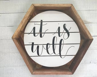 It is Well Christian Hymn Circle Pallet Board Farmhouse Rustic Hand Lettered Modern Calligraphy Sign