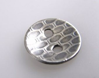 Sterling Silver Designer Button, 1/2 Inch, 13mm, Textured, QTY 1