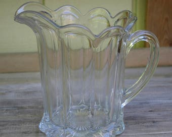 Vintage Antique Crystal Clear Glass Pitcher Heavy Gorgeous Scalloped