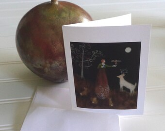Gamekeeper, Winter Greeting Card Collection, from original painting, Eight 5x7 inch cards with envelopes with box, holidays,  Christmas