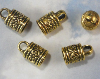 10 Celtic Heart End Tube Caps Antique Gold Tone Terminator Round Cord Tips Glue In (P1939)