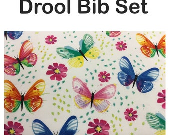 Drool bib and strap covers for front facing baby wearing for Beco, Boba, Ergo, Lillebaby with watercolor butterflies cotton fabric