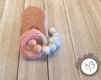 Wooden pineapple teething toy