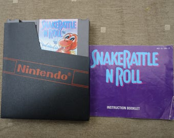 Snake Rattle and Roll cartridge with manual and sleeve - Nintendo NES video game - PAL