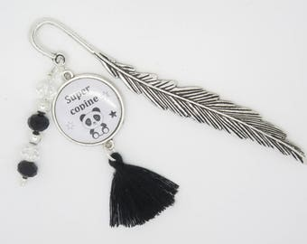 CUSTOMIZABLE gift bookmark for a reader, a reader: a girl with panda