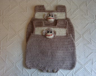 6 Month Crocheted Onesie/Bodysuit with crocheted Monkey face Applique