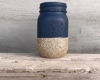 Navy Mason Jar, Glitter Dipped Jar, Gold Glitter Jars, Glittered Mason Jar, Girly Office Décor, Farmhouse Glam, Rustic Glam Wedding