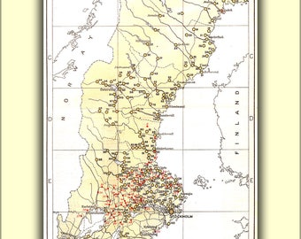 Poster, Many Sizes Available; Map Of Iron And Steel Foundries In Sweden C1920