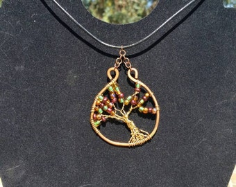 Fall Wire Tree Necklace