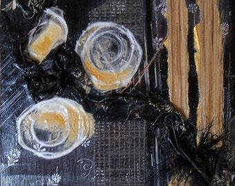 original art mixed media collage on masonite board 16x20 wall decor black and white abstract