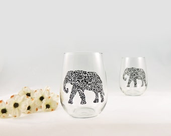 Elephant glasses - Elephant lover gift - Hand painted stemless wine glasses - Set of 2 - Safari Collection