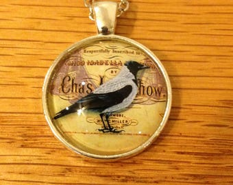 Black and White Crow Glass Cabochon Pendant Chain Necklace - CR
