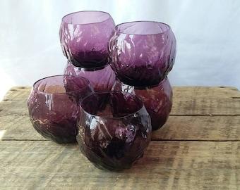 Roly Poly Crinkle Glasses Set of 6 Purple Glass Seneca Driftwood Glass
