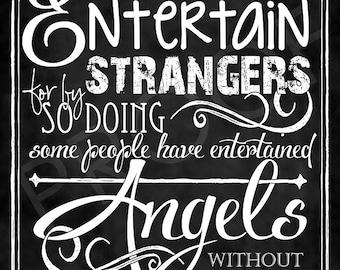 Scripture Art - Hebrews 13:2 Chalkboard Style