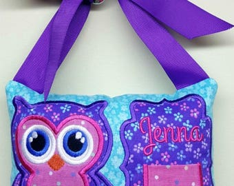 Girls tooth fairy pillow personalized ribbon door hanging