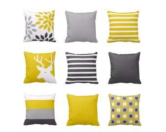 Throw Pillow Covers Mustard Yellow Grey White Couch Cushion Covers Home Decor Living Room Pillow Throw Pillow Covers Decorative Pillows