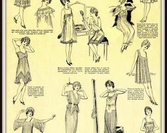Ladies Underwear Lingerie Paris 1917 Advert Poster - Print