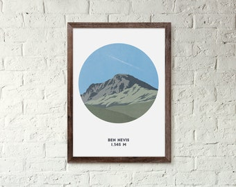Ben Nevis Mountain print, Scotland, Three Peaks Challenge, A4 Print, A3 Print, Gifts for him or her