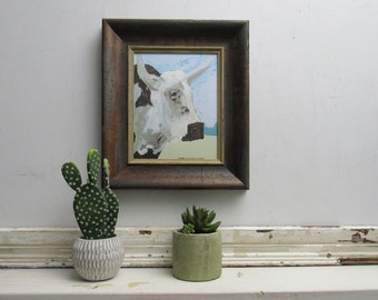 """framed print - cow - """"Norman """" - country chic  - farmhouse -wall art - decorative artwork"""
