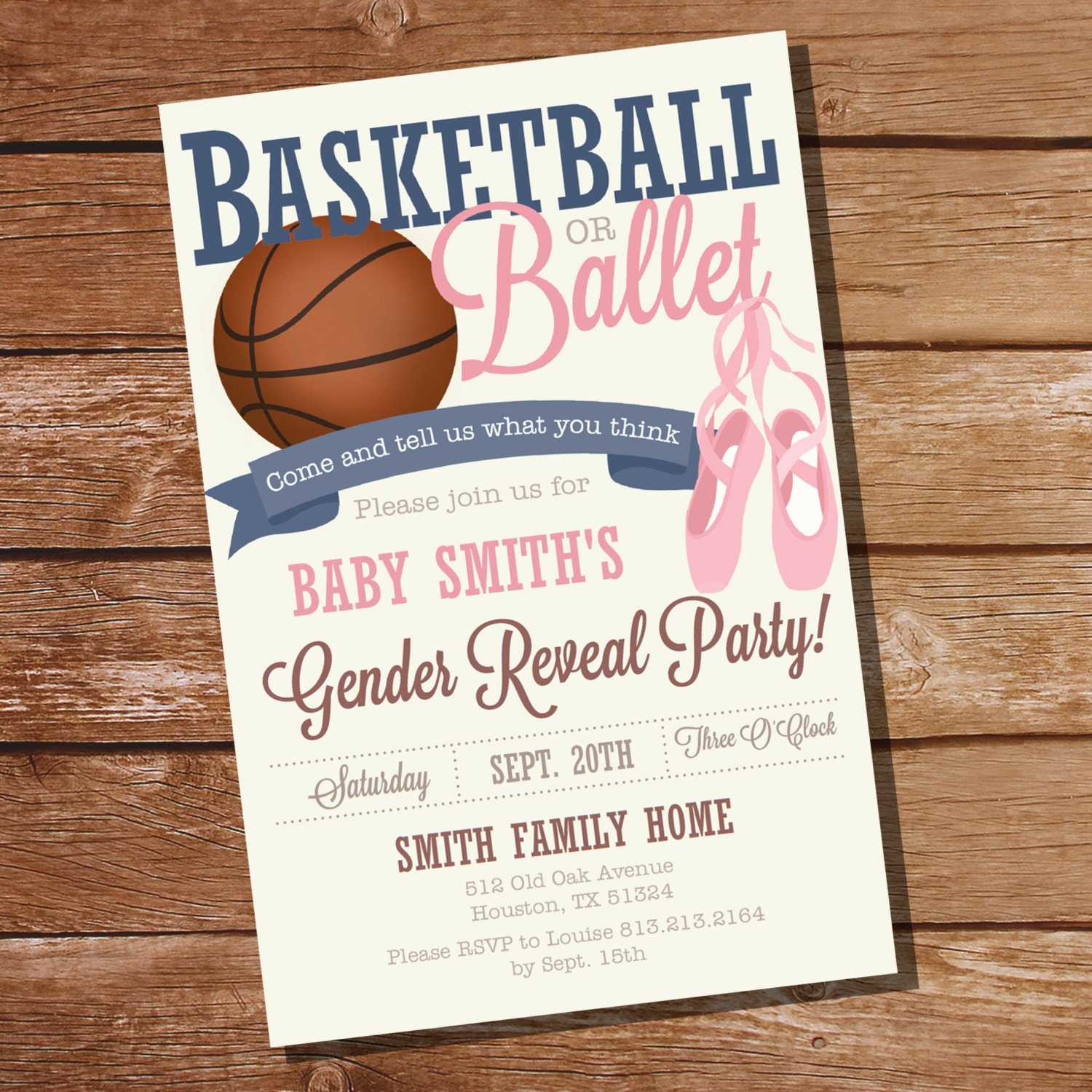 Basketball or Ballet Gender Reveal Party Invitation Ball or