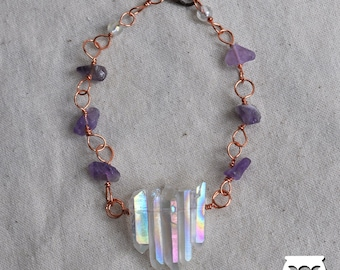 Copper bracelet with Amethyst and Aura Quartz  | Crystals  |  Handmade Jewelry |  Pagan Art  |  Magic