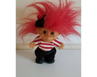Vintage French Troll, Russ Troll, Red Haired Troll, Rubber Troll, Troll Doll,  Troll in a Beret, France, Paris, Vintage Toys, Dolls, 1980s
