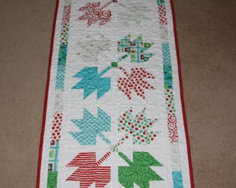 Quilted table runner or topper - 100% Cotton Fabric - Maple leaves