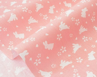 Traditional Japanese cherry blossom and rabbits pink x50cm white