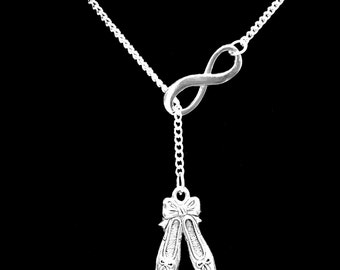Gift For Her, Infinity Ballet Shoes Slippers Ballerina Dance Dancer Gift Y Lariat Necklace
