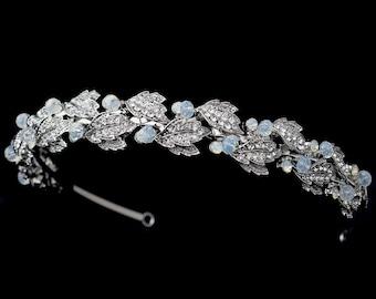Bridal Leaf Headband, Crystal Leaf Headband, Silver Leaf Headband, Opal, Bridal Headpiece, Bridal Headband, Wedding Headband, Bridal Tiara