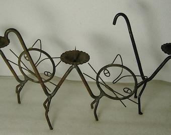 3 midcentury handmade metal cat candleholders