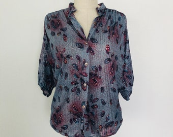 Vintage Queen of Hearts Feather Print Button Down Blouse c. 1975