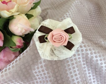 Flower 7 cm in cream lace and pink