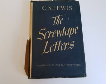 Vintage Hardcover Book with Jacket The Screwtape Letters CS Lewis 1946
