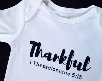 Thankful NEW DESIGN Baby bodysuit, Thankful bodysuit, Baby shower gift, Thanksgiving baby gift, Thanksgiving bodysuit