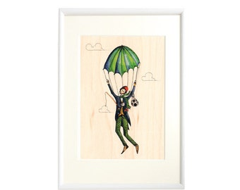 "A4 ""Parachute""  Printed on Real Wood, Framed Artwork, Wall art, Fine art, Color wooden frame,Wall Decoration"