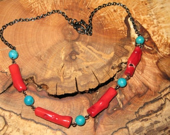 Red n' Blue - Turquoise and coral necklace