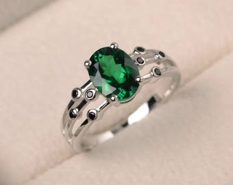 Emerald ring, engagement ring, oval cut green gemstone, May birthstone, sterling silver ring