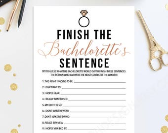 Trending Now - Finish The Bachelorette's Sentence - Bachelorette Party Game - Bachelorette Game - Rose Gold - Instant Download - DIY