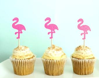 Let's Flamingle Cupcake Toppers - Flamingo Cupcake Toppers - Luau Cupcake Toppers - Tropical Cupcake Toppers - Flamingle Party Decor -