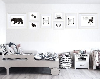 Woodland-Gallery Wall-Black-White-Minimalist-Modern-Bedroom-Children's Art-Bear-Deer-Antlers-Arrows-Nordic-Scandinavian-Boys-Girls-Kids-Room